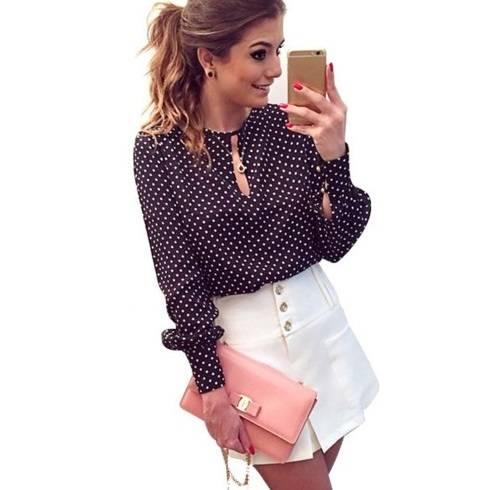 Женская блузка в горошек на Алиэкспресс. Купить женскую блузку